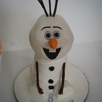 Olaf From Frozen Olaf cake. His head is carved 8 inch cakes. The middle is a 6 inch round and the bottom is an eight inch round.n he is covered in...