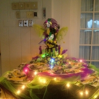 Hagens 11Th Birthday free form topsy -turvy cake-chocolate/chocolate ganache(9 lbs)covered with fondant-sugar cookies free form masks-was a Mardi Gras theme