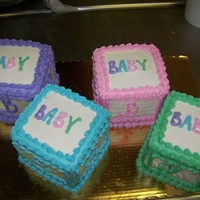 "Baby Blocks For Girl Or Boy 12"" square cake cut in 1/4s and decoratred like blocks colors your choice ."