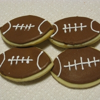 Super Bowl Cookies Simple cookie made with a round cutter as I didn['t have a football or oval shape.