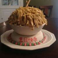 "Chinese Noodle Birthday Cake Using ball pans, I used marshmallow fondant to create a bowl. The writing is Chinese for ""Happy Birthday"""
