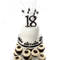 Black And White 18Th Birthday Cake/cupcake Tower