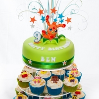 Moshi Monsters moshi monsters cake and cupcakes.The cake is a chocolate mud cake with white chocolate butter cream, covered in fondant. The character on...