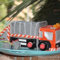Garbage Truck Cake garbage truck cake for my youngest son and his class with candyI used her truck playmobil for model