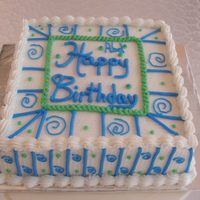 Blue And Green Swirl Birthday Cake