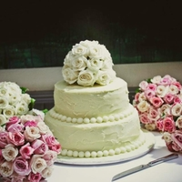 White Chocolate Wedding Cake White chocolate ganache covered 2 tier wedding cake