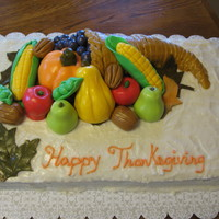 Thanksgiving Cornucopia   This was my first time using fondant. Made for my family on Thanksgiving.