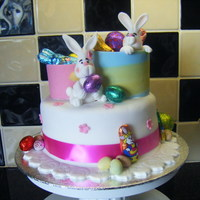 """hoppy"" Easter!! all edible,strawberry n vanilla cake with gum paste figures n choco sweeties.xx"