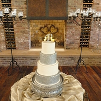 Sparkle Wedding Cake Sparkle wedding cake with edible monogram.