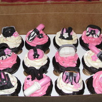 Pink Zebra Print Bridal Shower Cupcakes These cupcakes theme was pink, zebra print shoes, lipstick and purses. I especially love the lipstick with the zebra print !