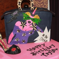 Betsey Inspired by Betsey Johnson's birthday bag for my daughters 24th birthday. Chocolate cake, vanilla filling covered in fondant. The shoe...