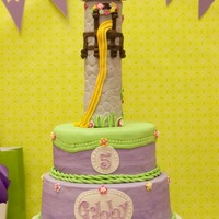 Rapunzel Tangled 10/8 cakes and RKT tower. Iced in BC with all MMF decorations!
