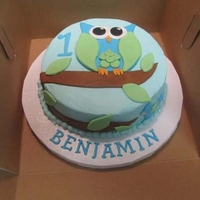 "Owl Smash Cake Woodland Creature Smash Cake. 1 layer, 6"" round cake. White cake."