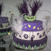 New Year's 2012 Fondant cake & cut outs with gumpaste Mardi Gras mask & balls with feather decorations