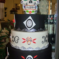 Day Of The Dead Celebration Cake Gum paste skull; fondant & gum paste decorations.