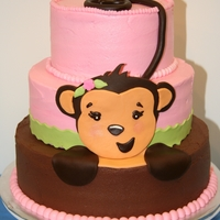 Girl Monkey Baby Shower Cake A customer provided a napkin for me to use as a guide in making the cake. She gave me free rein, and this is what I came up with. I saw...