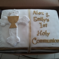 Bible Cake  A friend of my husband requested this cake be made for her 14 year old twin boy & girl. Cake is Vanilla with right side filling cookies...
