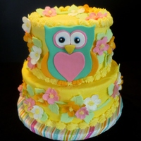 Owl Cake A cake donated to the monthly childrens' birthday celebration at a local residential recovery center - as a member of Birthday Cakes 4...