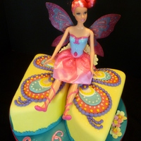 Butterfly Barbie This little friend wanted a Barbie cake, but her family wanted a small cake - smaller than provided by the full skirt of a stand-up Barbie...