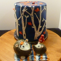 Birch Trees And Hedgehogs This cake was for my lovely daughter-in-law's baby shower. The cake was decorated to match her nursery theme and colors. The hedgehogs...