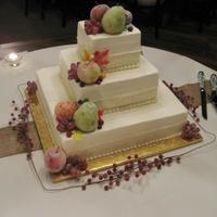 Wedding Cake Sugared Fruit Cascade on square Wedding cake