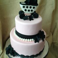 "Chic Pink Ivory And Black Baby Shower Cake 69 Cake Swiss Meringue Buttercream Mff White Chocolate Fondant Hand Sculpted Baby Carriage  Chic Pink, Ivory, and Black Baby Shower Cake 6""/9"" cakeSwiss Meringue ButtercreamMFF White Chocolate Fondant Hand Sculpted Baby..."