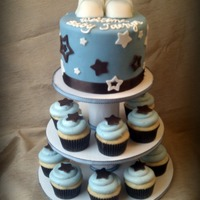 "Star Baby Shower Cupcake Tower  6"" Topper Cake: White Velvet with Cheesecake Mousse Filling, SMBC, and MFF. Vanilla Cupcakes with Cheesecake Mousse Filling and Cream..."