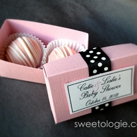 Cake Truffle Favors  Pink Lemonade Cake Truffles in Favor Boxes I custom made and decorated to match Baby Shower theme of Soft Pink, Black, and White with Polka...