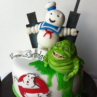 Ghost Busters   Made this cakes for a little boys birthday, figures are hand made and edible