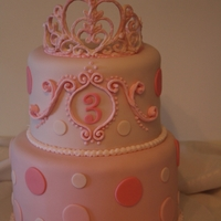 Princess Cake   This was my first time doing a royal icing tiara, and royal icing accents on the cake around the number 3