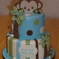 Peek-A-Boo Monkey I was asked to do a baby shower cake witht he Peek-a-Boo Monkey theme and this is what I designed. The monkey and palm trees are gumpaste,...