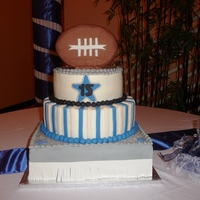 Dallas Cowboy Cheerleader Cake was done for 15 year old girl who loved the Dallas Cowboys, entire cake including football is buttercream iced with fondant for...
