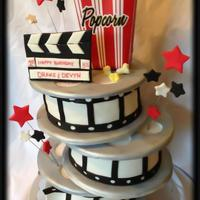 Hollywood Film Reels 3D Cake Movie Night Hollywood Film Reels 3D Cake - Movie Night