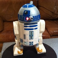 "R2D2 Lights Up The Day This 3D R2D2 is a 3-tier chocolate cake. The bottom 2 tiers are 6"" rounds, each is 2-layers. The head is a 6"" round topped with a..."