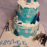 Frozen Cake A Frozen themed birthday cake. The characters are figures purchased through the Disney store. The blue ice is poured sugar broken into...
