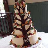 Fall Tree Wedding Cake  This 4 tiered wedding cake is iced with SMBC. The tree was hand-painted with chocolate and the leaves are a fondant/modeling chocolate/...