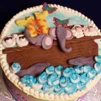 Noah's Ark   A chocolate cake with vanilla IMBC for a baby shower welcoming twins!