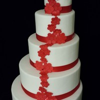 Red Flowers Wedding Cake   Fondant with fondant accent flowers