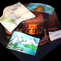 Vacation Destination! Suitcase cake with fondant accents. Hand-painted fondant postcards and map