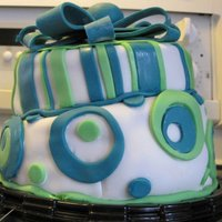 Topsy Turvey Cake Chocolate cakes cut and stacked on each other covered in fondant. Bow and streamers also of fondant. Most of this creation was the...