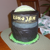 Kan Jam Frisbee game replica. Frisbee was made out of colored white chocolate molded in a bowl and pressed with another. There are four layers to...