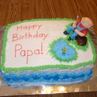 Fishing Papa Covered with Buttercream. Figure's body and stump are made with brownie in silicone brownie mold. Covered with Marshmallow fondant....