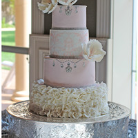 Rose Petal Ruffle Wedding I used a rose petal ruffle technique for the bottom tier and for the damask print i printed on wafer paper to give it a subtle look. The...