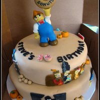 Simpsons Cake With Lard Boy Themed Simpsons cake with Lard Boy on top (gumpaste). Handcut art copying favorite scenes that birthday boy loved - all Halloween themed....