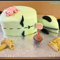 Gir Cake (Invader Zim Cartoon) GIR character from the cartoon Invader Zim, complete with mini cupcake