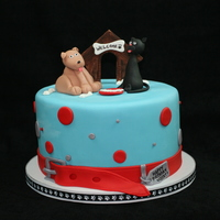 Cat & Dog Cake Cat & Dog Cake Vanilla Cake with Vanilla Buttercream covered in Fondant. All decorations are handmade with fondant. TFL!