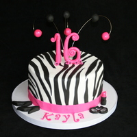 Hot Pink & Zebra Striped Sweet 16 Cake! Hot Pink & Zebra Striped cake, with zebra stripes baked inside using chocolate and vanilla batter! All fondant handmade decorations!...