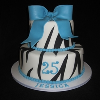 Zebra Teal Cake With Bow