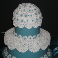 Daisy Dome Stand-away lace and daisies. Dome and lace made from royal icing. Daisies are made from gumpaste.