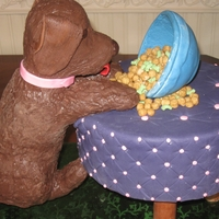 Puppy Climbing Stool Puppy is rice krispie treats covered in chocolate, bowl is fondant,Pebbles cereal is in bowl, and stool is cake covered in fondant. I won&#...